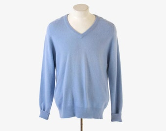 Vintage Men's CASHMERE Sweater / 1970s Soft Thick 100% 2-Ply Cashmere Blue Pullover Jumper M