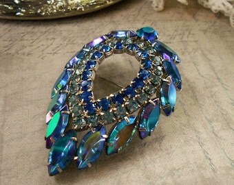 DeLizza Elster Blue Lagoon brooch Sapphire rhinestone brooch for Sarah Coventry rhodium plated something blue