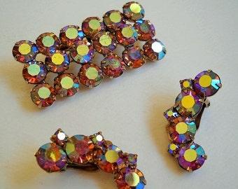 Coro pink topaz rhinestone brooch and earrings