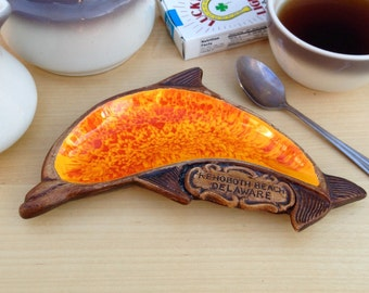 Vintage Rehoboth Beach Dolphin Dish Ashtray / Orange Ash Tray / Kitschy Travel Souvenir / Treasure Craft Made in the USA