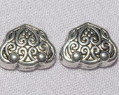 Antiqued Silver Mala Guru Bead Scrolled Hearts Set Of Two