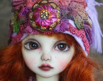 Hand Dyed Lavender Cloche Style Hat With Vintage Style Czech Button For Ball Jointed Dolls