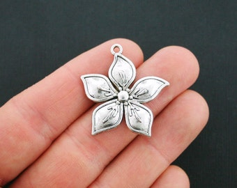 4 Flower Charms Antique Silver Tone larger Size - SC5014