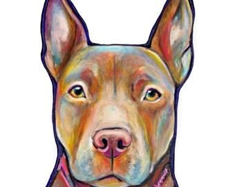 Original Pet Portrait Painting on White Canvas
