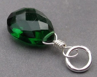 Emerald Green Quartz Pendant, Birthstone Charm, Wire Wrapped Pendant, May Birthstone Jewelry, Interchangeable Pendant,  Stones 2