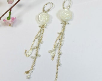 Mother of Pearl Flower Rose Earrings with Freshwater Pearls and 925 Sterling Silver w 14kt Goldfill, Long Chain MoP and Pearls Earrings