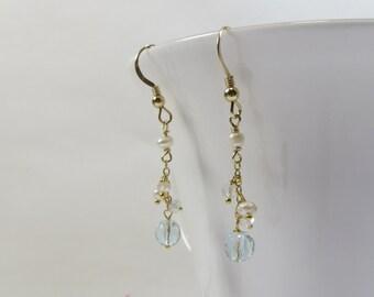 Aquamarine Topaz and Pearl Earrings, Delicate Dainty Aquamarine & Freshwater Pearls Earrings w White Topaz Earrings w 925 Sterling Silver