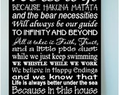 Beautiful DISNEY famous movie quotes wooden subway art 8x12 sign -In this house we let it go because hakuna matata and the....