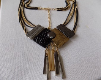 Vintage necklace, abstract modernist black and gold pendant necklace, vintage jewelry