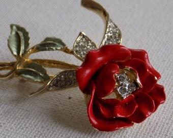 Vintage brooch, signed La Scala red rose brooch, enamel and crystal brooch,elegant brooch