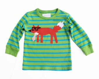 Fox Applique 24 Months Long Sleeve Fun Stripes