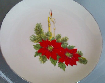 Royal Devon Christmas Platter, Vintage Holiday Plate, Poinsettias and Candles, Christmas Serving Plate, Family Gathering Holidays