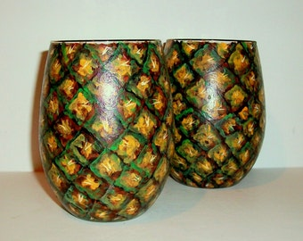 Pineapples Stemless Wine Glasses Hand Painted 21 oz. Stemless Glassware Pineapple Print Green Yellow Brown Wedding Gift