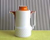 Vintage German Orange Red and White Bavaria Schirnding Teapot from the 60s