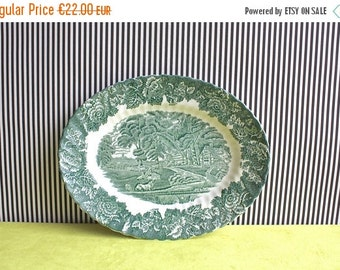 Summersale Vintage Enoch Wood Ware, Wood & Sons Oval Green English Scenery Platter