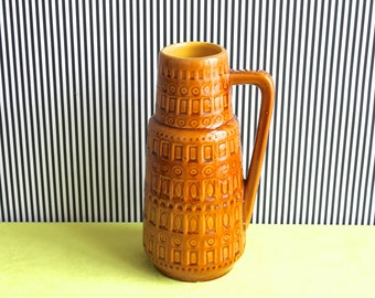 Scheurich West German Pottery Okra Single Handled Vase Inka Dekor
