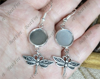 6pcs Unique new style platina tone Earwires Hook With Round Cabochon Pad,dragonfly Beautiful Detail, Earrings hook,earring finding base