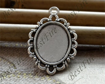 12 pcs of  Antique silver Oval Cabochon Pendant Base (Cabochon size 13x18mm),Pendant findings,lacework findings