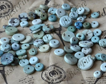 30beads Irregular wafer Natural old Turquoise nugget loose beads,turquoise nugget gemstone beads,turquoise beads