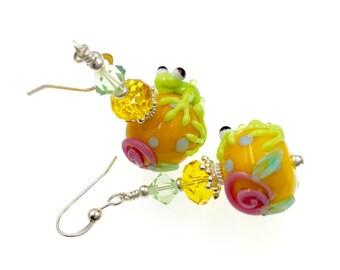 Frog Earrings, Unique Lampwork Earrings, Green Glass Bead Earrings, Yellow Beadwork Earrings, Animal Lampwork Jewelry, Dangle Drop Earrings