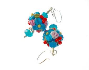 Blue Dangle Earrings, Flower Lampwork Earrings, Glass Bead Earrings, Aqua Glass Bead Jewelry,  Lampwork Jewelry, Beadwork Earrings