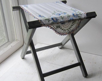ON SALE Folding Camp Stool with Vintage Embroidered Linen  - Blue/Gray Shabby Chic Stool / Small Table