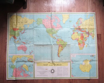 "Vintage World Map - 1957 Large Colorful Lithograph Map 48"" x 35"" - Universal Map of the World - Book Enterprises, NY"