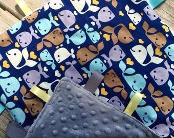 Whale Tag Blanket, Blue Orange Minky Ribbon, Boy Security Lovey