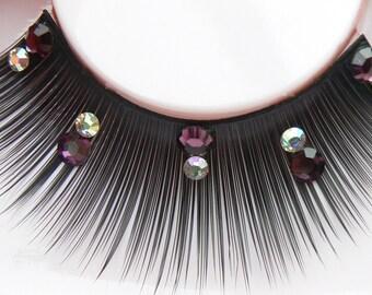 Regality - False Eyelashes with Genuine Preciosa Amethyst Purple & Swarovski Diamante Rhinestones