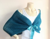 Teal Bridal Cape/Teal Green Wedding Wrap Shrug Bolero/Hand Knit Sparkle Mohair-Ready to ship