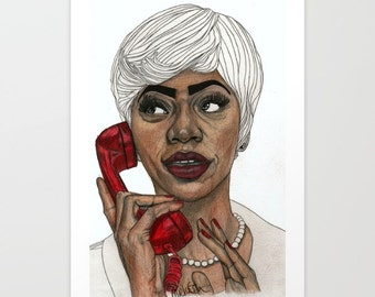 Girl with the Red Telephone - Original Drawing Art Illustration Paul Nelson-Esch Fashion Home Decor Pencil Modern Free Worlwide Shipping