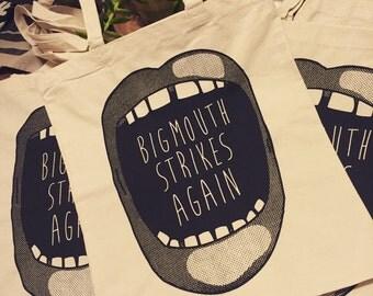 Big Mouth Tote Bag - Big Mouth Strikes Again screenprint tote