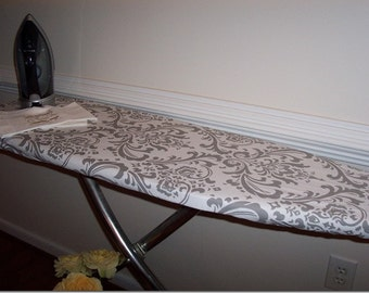 Custom Ironing Board Cover Gray White Damask Traditions Fabric