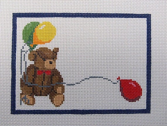 Teddy Bear Birth Sampler Needlepoint Canvas
