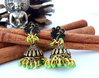 SALE!! Paisley Peacock Brass Jhumkas SALE!!
