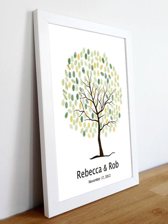 Wedding Guest Book Tree----To Be Personalized By Up To 100 Guest's Fingerprints - 13x19-With 1 ink pads and instructions