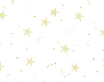 White- Lucky Stars with Cotton Metallic- MAGIC by Sarah Jane for Michael Miller- MD7194-WHIT-D