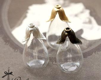 2PCS Clear Teardrop Glass Bulb Glass Teardrop Bottle FLAT Base with matt gold matt silver Antique Bronzed Flower Cover