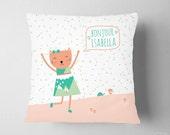 Mint Peach Nursery , Personalized Name Cat Kitten Nursery, Girl Room Mint Green  ,  Scandinavian Nursery Pillow , Personalized Baby Girl