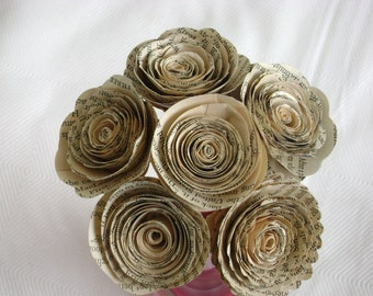 "Jane Austen roses 6 paper flowers 2"" spirals recycled book page bouquet bridal alternative"