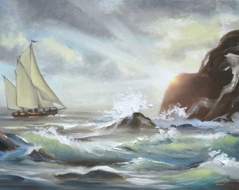Seascape sailboat 11x17 print personally signed by artist RUSTY RUST / M-364-P