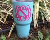 Custom painted Yeti rambler tumbler triple insulated turquoise blue mint monogram and personalize it