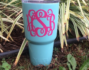 Custom painted Yeti rambler tumbler triple insulated turquoise blue mint FREE  monogram and personalize it