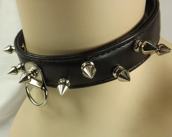 Submissive collar punk collar black leather spike collar mature leather choker pinchthemuse