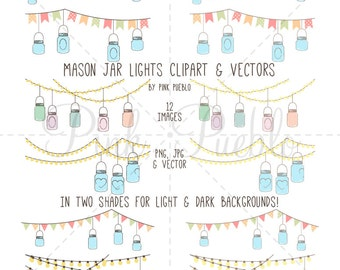 Mason Jar Clipart, Mason Jar Clip Art, Mason Jar Chandelier, Mason Jar Light Clip Art, Mason Jar Light Clipart - Commercial and Personal Use
