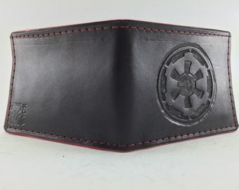 Star Wars Inspired - Imperial Cog Leather Wallet (Scarlet Edge)