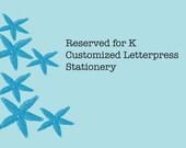 Reserved for K Holiday Letterpress Cards