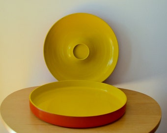 Georges Briard Mod Orange and Yellow Snack and Serving Trays 1970s