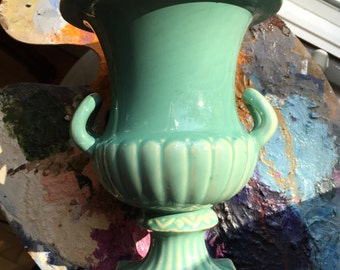 Turquoise urn vase beachy urban bright