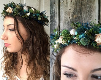 Dried Flower Crown Hair Wreath Mermaid Seashells Natural Flowers Beach Wedding Bridal Crown Costume Sea shell Fern Pods Star Flowers